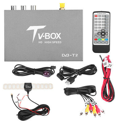 Car Mobile Digital TV Box Analog Tuner Receiver Antenna Remote 1080P HD DVB-T2