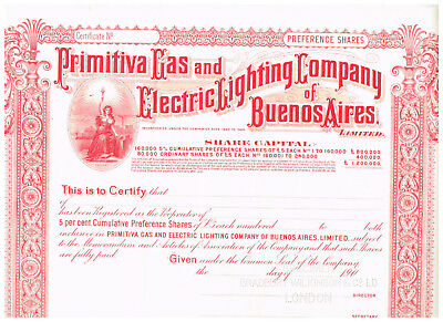 Primitiva Gas and Electric Lighting Co. of Buenos Aires, 190x, SPECIMEN, nice