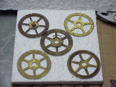 5 Large Used Brass Clock Gears Steampunk Altered Art Projects parts repair E