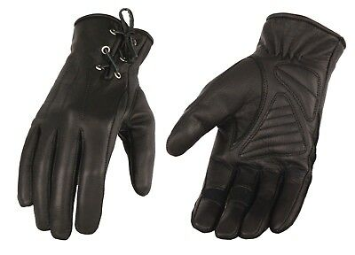 Women's Leather Riding Glove w/ Gel Pam & Laced Wrist Black, Pink or Purple Lace