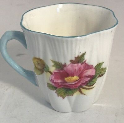 Shelley Bone China Teacup  Floral Dainty Shape Blue Trim - Pretty- Small-Nice