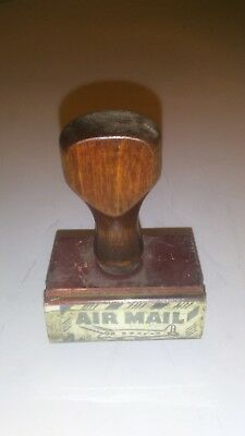Stamp Vintage Rubber AIR MAIL Wooden Handle 1950s