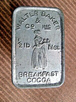 Vintage Walter Baker & Co. 1/2 Lb. Breakfast Cocoa Tin - Embossed