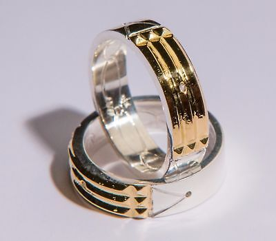 Atlantis Ring (Anillo Atlante) 970 Silver/Plata 18K Gold/Oro 6mm Wide 2mm Thick