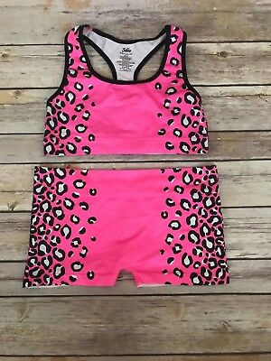 Justice Dance Lot Hot Pink Black Bra Top Bootie Shorts Size 8/10 Excellent