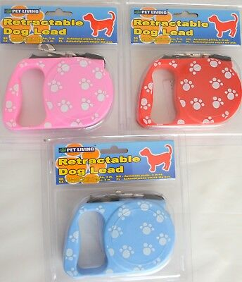 Retractable Dog Lead 3m long Paw Print - Puppy/Cat/Rabbit/Walk - Pink/Blue/Red!