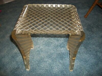 Vintage Mid Century Clear LUCITE VANITY STOOL BENCH Diamond Pattern