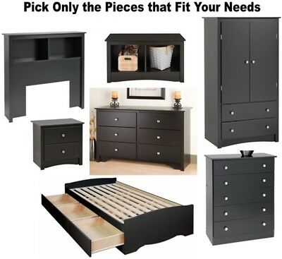 BLACK BEDROOM FURNITURE Dresser Nightstand Chest Dressers 2 ...