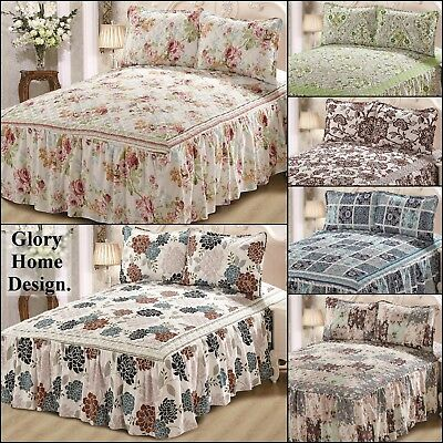 3 Piece Bedspread With Bed Skirt Attached All In One Set Khloe