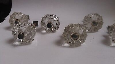 7 Antique Vintage Clear Glass Cabinet Knobs Drawer Pulls