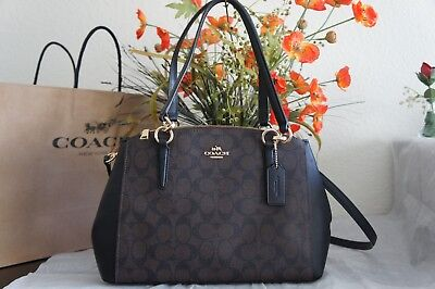 NWT Coach F58291 Christie Carryall Signature Small Satchel Bag Brown Black