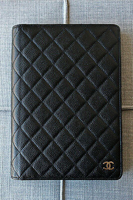 AUTHENTIC CHANEL Black Caviar Quilted Leather Silver Agenda Notebook!