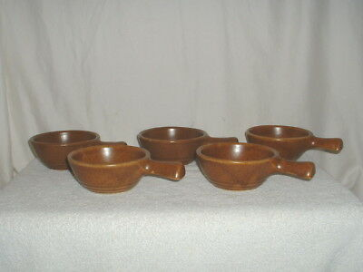 5 Vintage Monmouth Mojave Brown Handled Bowls Unused NOS