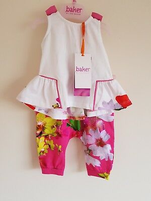 Ted Baker Baby Girls  Orchid Floral top & Leggings / Pants Set. 0-3, 3-6 Months