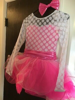Preowned Dance Costume Polkadot hot pink