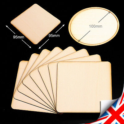 Wooden Squares (95mm) & Circle (ᴓ100mm) Cup Coaster Craft Shapes Blanks Engraved