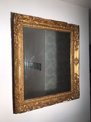 Antique Large Victorian Gold Gilded Gesso Mirror