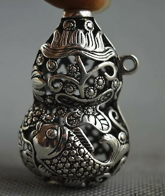 Collectable Handwork Decor Old Miao Silver Carve Goldfish & Lotus Lucky Pendant