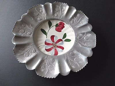 Retro Farber and Shlevin HAND WROUGHT ALUMINUM TRAY DISH China Plate in center