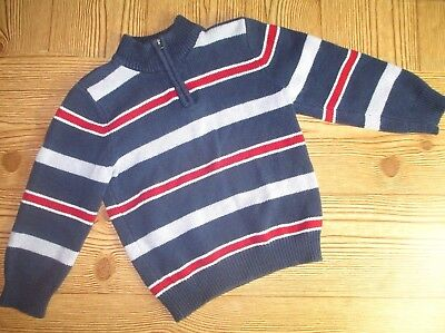 Sonoma Blue Striped Toddler Boys Pull Over Zip Up Sweater Size 4T