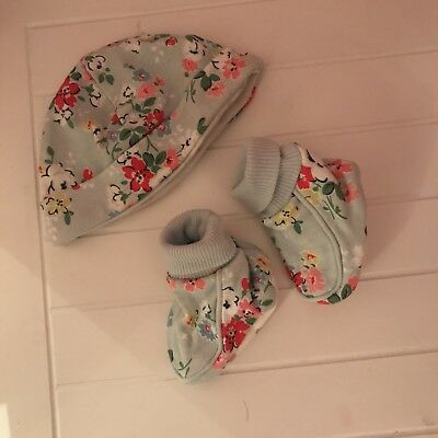 Cath Kidston Floral Baby Booties & Matching Baby Hat Brand New