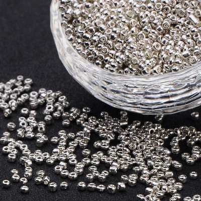LOT DE 1000 PERLES DE ROCAILLE ARGENTE ARGENT Ø 2 mm 12/0 CREATION BIJOUX