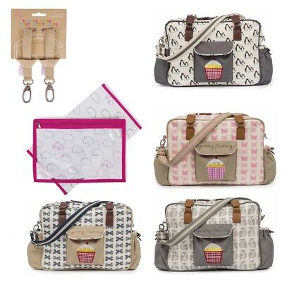 Pink Lining Yummy Mummy Baby Changing Nappy Bag, Stroller Straps & Changing Mat