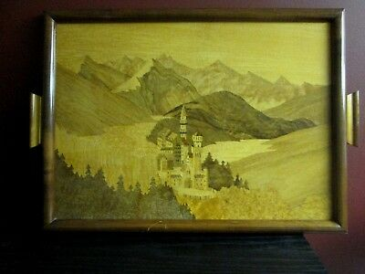 Vintage WOOD INLAY TRAY Schild Intarsia Germany Marquetry Wall Hanging Castle!