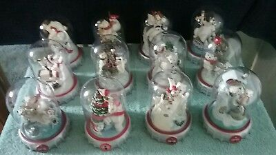 Franklin mint coca-cola polar bear limited edition figurine set of 12