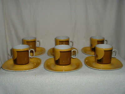 6 Cup & Saucer Sets Block Langenthal Transition Evolution Switzerland
