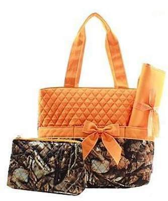 Personalized 3 Piece Diaper Bag Tote Orange Camo
