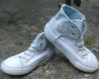 Toddler Boy's White and Baby Blue Converse Hightop Shoes Size 9
