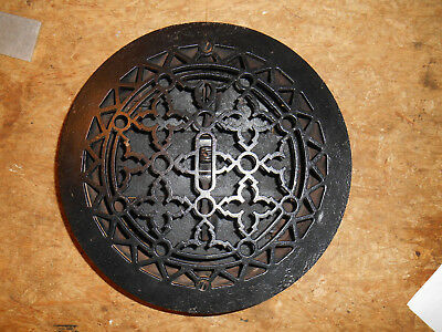 Ornate Antique Cast Iron Register GrateHeating Round Architectural w/louvres