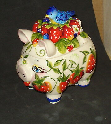 Ornate Pig, Strawberries, Blue Bird  Blue Sky Collectible Sugar Bowl
