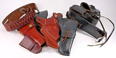 Vintage Leather Gun Pistol Revolver Holster Collection | Lot Of 8 + Two Belts