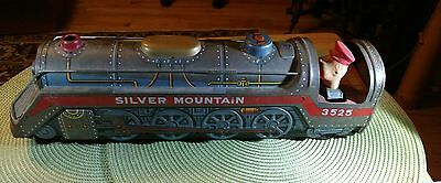 Vintage TM Mod Toy Japan Battery Op Tin Train & Conductor SILVER MOUNTAIN 3525