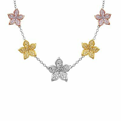 Crystaluxe Flower Station Necklace with Swarovski Crystals in 18K Two-Tone Gold