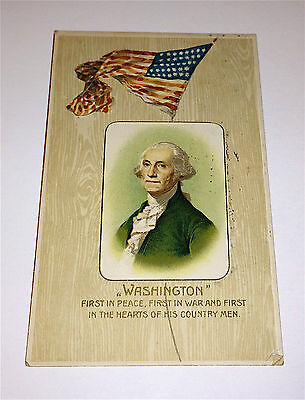 Rare Antique George Washington 1st in Peace, War & Hearts American Flag Postcard