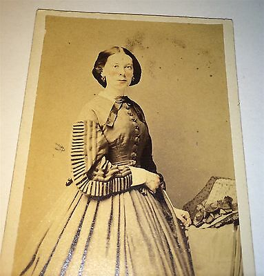 Antique Victorian American Civil War Era Woman Fantastic Fashion Dress CDV Photo