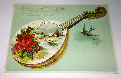 Antique Victorian Wood Brothers Music & Musical Merch! Advertising Trade Card!