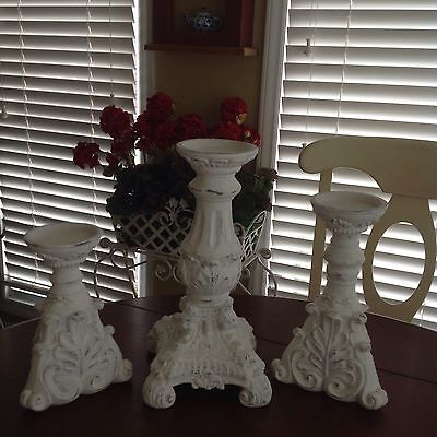 Vintage Style Chippy White Distressed Candlestick Set French Country Wedding