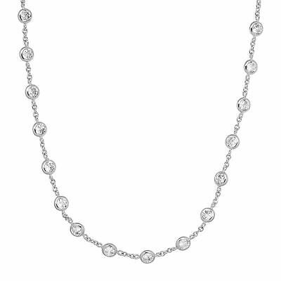 """Cubic Zirconia Station Necklace in Rhodium-Plated Sterling Silver, 20"""""""