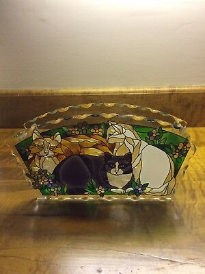 Joan Baker Stained Glass Cat Envelope Holder