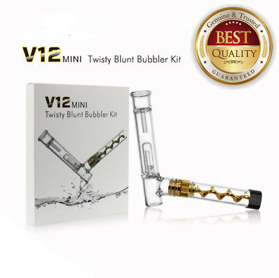 B-Blunt Collectibles V12 Mini Twisty Glass Pipe Bubbler kit In Gold