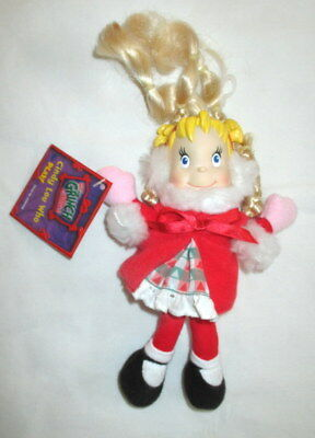 """Cindy Lou Who Plush Beanie Doll Dr. Seuss Grinch Who Stole Christmas 7"""" 2000 NEW"""