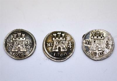 Group of 3 Extremely Scarce NR Colombia Silver ¼ Real Coins - 1798 1800 & 1812