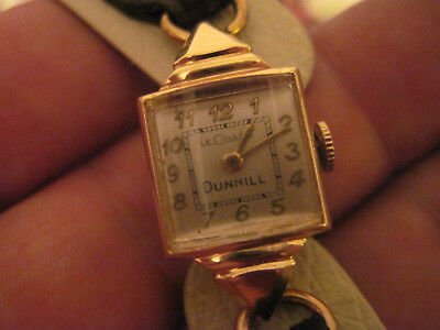 Vintage 14K Yellow Solid Gold LeCoultre-Dunhill Ladies Watch Manual Wind