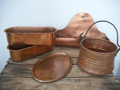 Vintage Copper Lot Planters Bucket Tray Decorating Staging Farmhouse Gardening