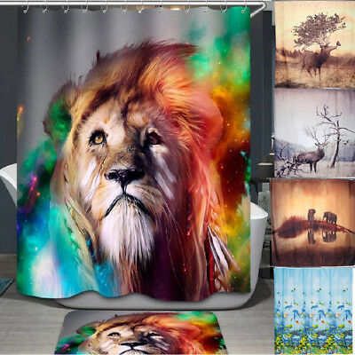 Animal Theme Waterproof Bathroom Polyester Shower Curtain With 12 Ring Hooks