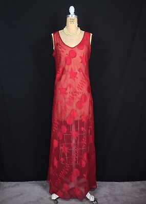 Vintage Victorias Secret Medium Red Sheer Swirl Print Long Nightgown Gold Label